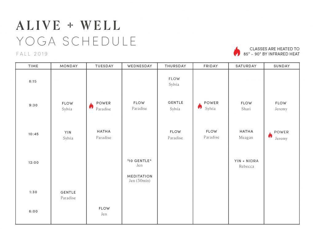 Fall Yoga Schedule